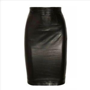 L'Agence Black Lamb Leather Pencil Skirt Wave Sz 4
